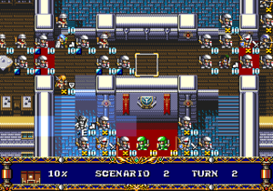 "Tactical role-playing game - Tile-based, overhead gameplay of Langrisser II. Buildings, scenery and opposing units can form bottlenecks or ""choke points"" that players are forced to consider."