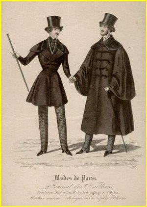 Men's fashion silhouette of 1837 shows broad s...