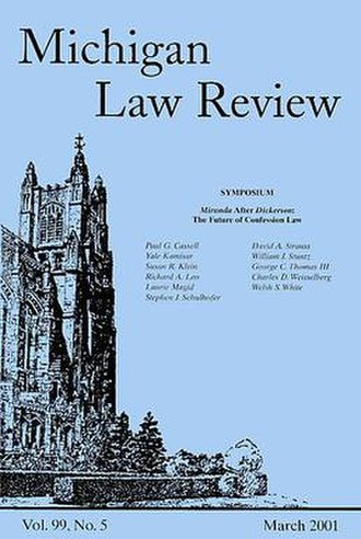 Michigan Law Review - A typical Michigan Law Review cover.