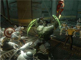 Marvel: Ultimate Alliance 2 - Heroes Captain America, Hulk, Iron Man, and Luke Cage battle enemy robots.