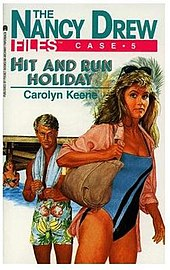 in a change from earlier portrayals of the character nancy is pictured on the cover of hit and run holiday in proximity to an attractive young man