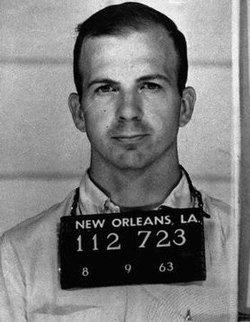 Mugshot taken of Lee Harvey Oswald, taken foll...