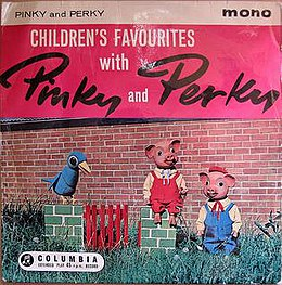 EP cover of Children's Favourites with Pinky and Perky. Photographic illustration: Perky and a blue bird stand alongside Perky (seated) in front of a brick wall.