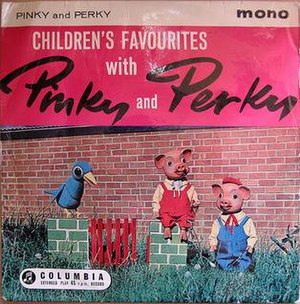 Pinky and Perky - EP cover of Children's Favourites with Pinky and Perky (1961 Columbia Graphophone Company)