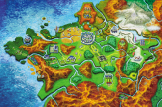 Pokémon X and Y - Pokémon X and Y take place in the Kalos Region. The player begins their adventure in Vaniville Town, located in the lower right point of the star-shaped region. The large, circular city just north of center is Lumiose City.