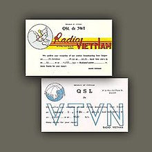 Radio Vietnam broadcast hours cards, denoting times and ...