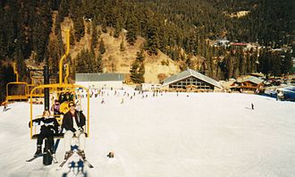 Red River, New Mexico - Red River Ski Area with the town of Red River in the background