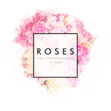 The song name written in a square box, on top of an image of a woman with roses on her head.