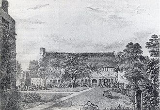 History of St Helens, Merseyside - An artists rendition of the Friends' Meeting House constructed in St Helens 1679, a Grade II Listed building.