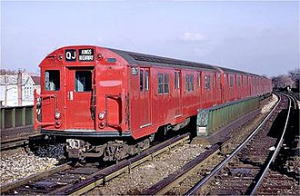 R27 (New York City Subway car) - An R27 train on the former QJ service leaving Sheepshead Bay.