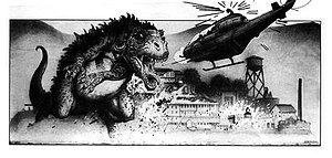 Godzilla (franchise) - Storyboard panel by William Stout for Steve Miner's proposed Godzilla 3D film