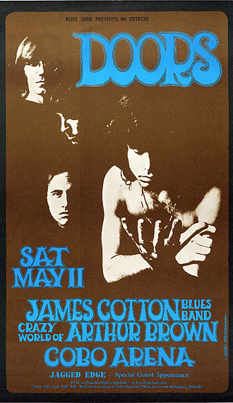 The Doors - Poster for a 1968 concert at the Cobo Arena, Detroit