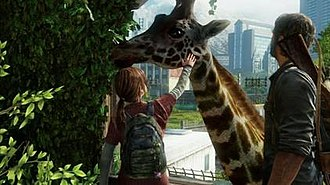 """Development of The Last of Us - The motif that """"life goes on"""" is regularly presented throughout the game, generally illustrated by the use of nature and the environment; here in a later scene, Joel and Ellie discover a herd of giraffes, which is seen to be a resemblance of hope for the characters."""