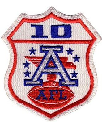Ten-year AFL patch - The shoulder patch worn by the AFL's Kansas City Chiefs in the fourth AFL-NFL Championship game