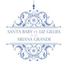 A white background displaying a blue Christmas ornament hanging from above with the song's title.