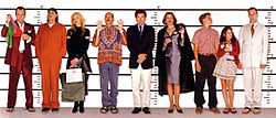 The main cast of Arrested Development pose in a police lineup.