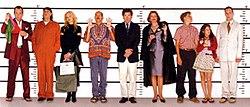 Le casting principal de Arrested Development pose dans une formation policière.