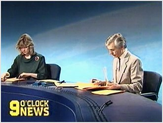 BBC Nine O'Clock News - A bulletin presented by John Humphrys and Julia Somerville. The bulletin design was in use from 1985-1988.