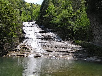 Ithaca (town), New York - The falls at Buttermilk Falls State Park, located along Rt. 13 in the south part of the Town of Ithaca