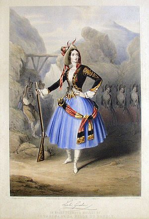 Catarina or La Fille du Bandit - Lithograph by J. Branard of Lucile Grahn in the title role of the Perrot/Pugni Catarina. Here Grahn is costumed for the celebrated Pas Stragétique. London, 1846