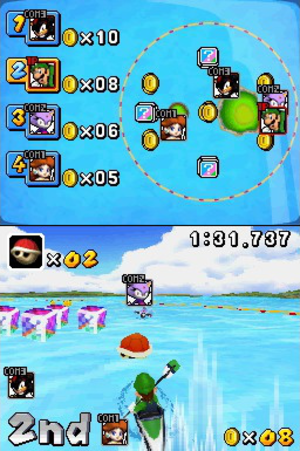 "Mario & Sonic at the Olympic Games - ""Dream Events"" are alternate versions of Olympic events. In the DS-exclusive event ""Dream Canoe"", players can use items from the Mario Kart games."