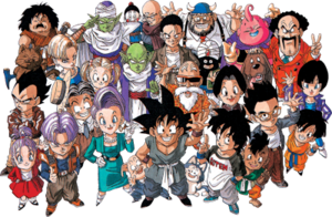 The principal cast of Dragon Ball, as depicted...