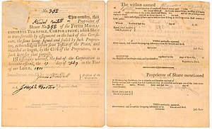 Fifth Massachusetts Turnpike - Front and back of Turnpike stock certificate. Original at Fitchburg Historical Society