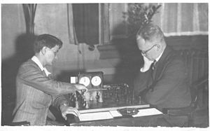 Sonja Graf - Sonja Graf (left) plays at the Utrecht Chess Club against the local champion, October 3, 1936