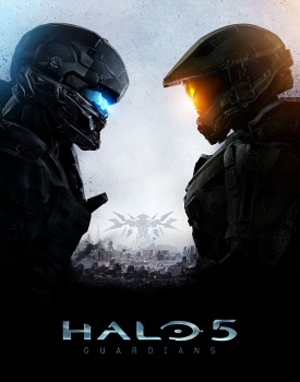 Halo 5: Guardians - Cover art featuring Spartan Locke (left) and Master Chief (right), with a Guardian rising in the background