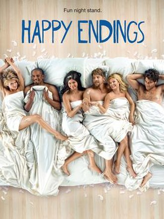 Happy Endings (TV series) - The cast of Happy Endings in the season three promo poster. (pictured from left to right) Eliza Coupe, Damon Wayans, Jr., Casey Wilson, Zachary Knighton, Elisha Cuthbert, and Adam Pally.