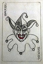 Sketch of a playing card with a grinning Joker