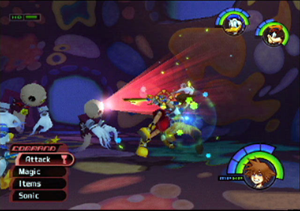 Kingdom Hearts (video game) - The main character, Sora, fights against Heartless. The heads-up display consists of a command menu at the bottom left of the screen, and the character health and magic meters on the right side.