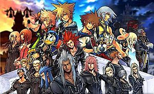 Characters of Kingdom Hearts - A piece of promotional artwork for Kingdom Hearts II Final Mix+ that showcases the main characters of the series up to II; Sora appears twice in the center in two different outfits with his Kingdom Hearts design next to Roxas (left) and his original design next to Riku (right), with the members of Organization XIII at the bottom.