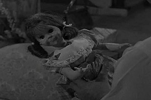 "Chatty Cathy - ""Talky Tina"", whose design was inspired by Chatty Cathy and was voiced by June Foray (the original voice for Chatty Cathy), appeared in ""Living Doll"", a 1963 episode of The Twilight Zone."