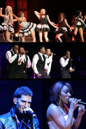 Making the Band 4 – The Tour - All acts performing at the Wiltern Theater date. From top: Danity Kane, Day26. From left: Donnie Klang, Cheri Dennis