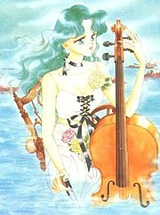 Michiru with a cello, as drawn by Naoko Takeuchi. Femininity and music are emphasized in her character design, and here she is half-submerged in water, reflecting the nature of her Senshi form.