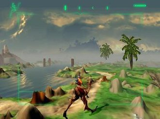Outcast (video game) - Gameplay screenshot of Cutter Slade riding a Twon-Ha