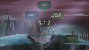 Oxenfree - Alex (left) and non-player characters Jonas and Ren converse while Alex tunes the radio. The player has three possible dialogue options visible.