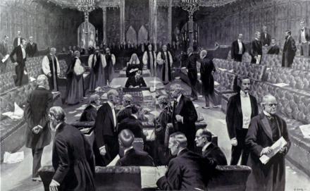 Scene inside parliamentary debating chamber with peers and bishops walking into the voting lobbies. Two bishops are joining the peers opposing the current legislation; the others are voting with the government