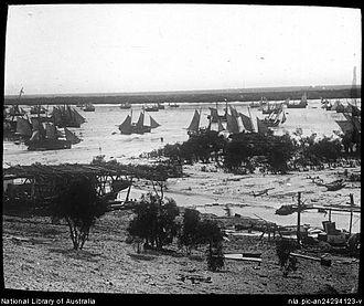 Pearling in Western Australia - Pearl luggers at Roebuck Bay, Broome in about 1912
