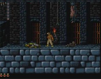 Prince of Persia (1989 video game) - Screenshot from the Super NES version developed by Arsys; this version features enhanced graphics and more levels than the original Apple II release