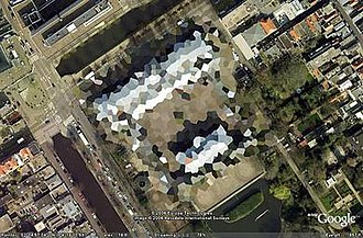 Google Earth - Blurred out image of the Royal Stables in The Hague, Netherlands. This has since been partially lifted.
