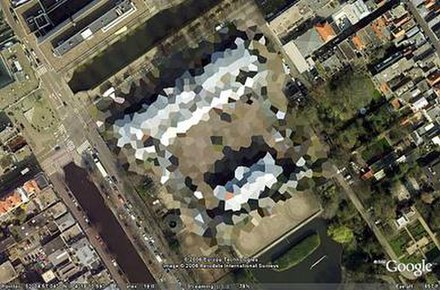 Blurred out image of the Royal Stables in The Hague, Netherlands. This has since been partially lifted. - Google Earth