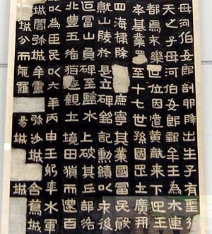Goguryeo - Detail of a rubbing of the Gwanggaeto Stele (414 AD), one of the few surviving records made by Goguryeo, written in Classical Chinese.