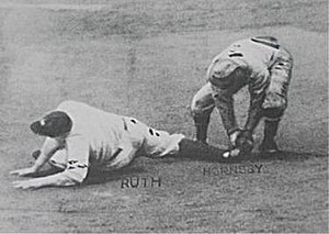 Bob O'Farrell - Babe Ruth being tagged out at second base by Rogers Hornsby after receiving a throw from O'Farrell to register the final out of the 1926 World Series
