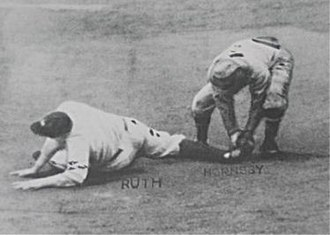 Rogers Hornsby - Babe Ruth being tagged out at second base by Rogers Hornsby to register the final out of the 1926 World Series