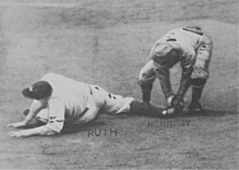 Ruth being thrown out trying to steal second, ending the 1926 World Series.