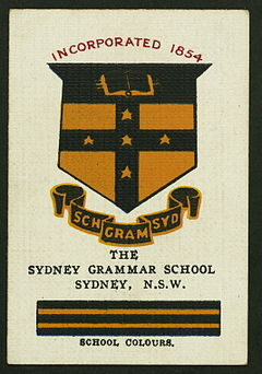 Collectable Cigarette card featuring the Grammar colours and crest, c. 1910s SGSCigcard.jpg