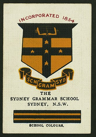 Sydney Grammar School - Collectable Cigarette card featuring the Grammar colours and crest, c. 1910s