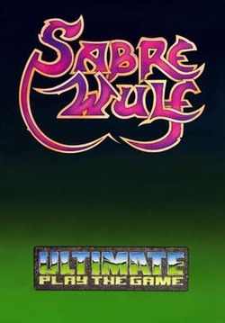 "A plain, vertical cover with ""Sabre Wulf"" in stylized, purple, scripted lettering in gold outline, and the Ultimate Play the Game logo beneath it. The background is a gradient from black to light green."